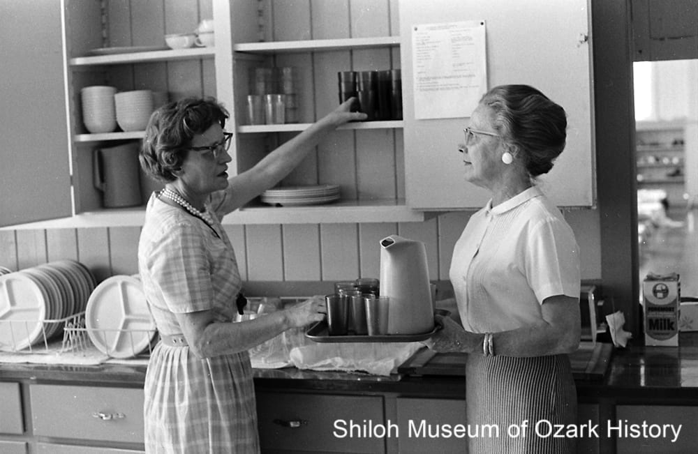 Serving afternoon snacks at the Day Care Center, July 6, 1966. Luella Hayes (left) and Ima Jean Lindstrom.