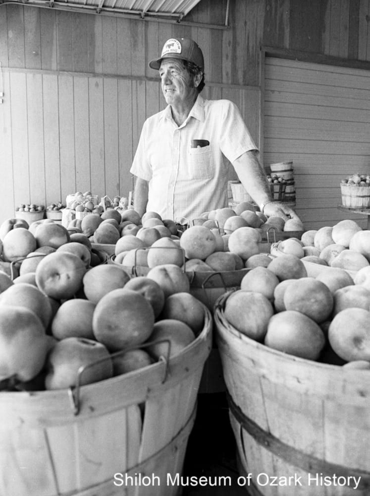 Fred Vanzant at his farm stand, Lowell, August 17, 1984.