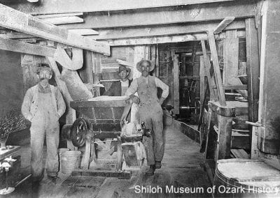 Interior of Springdale Burr Mills (also known as Little Red Mill and Bowman Mill, later Byars Grist Mill), Springdale (Washington County), 1913.