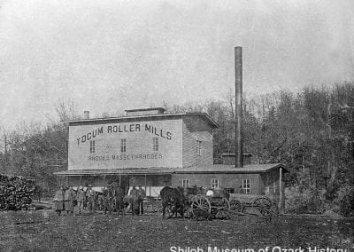 Yocum Roller Mills, Yocum (Carroll County), 1900s-1910s. Rhodes and Massey built this steam-powered roller mill in 1894. Carroll County Heritage Center Collection (S-85-18-28)