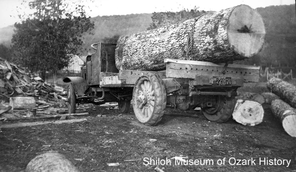 Rufie Martin's logging truck at the Martin sawmill, Pettigrew (Madison County, Arkansas), 1928.