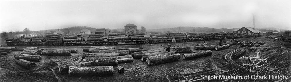 Log train at J. H. Phipps Lumber Company, Fayetteville (Washington County), 1912.