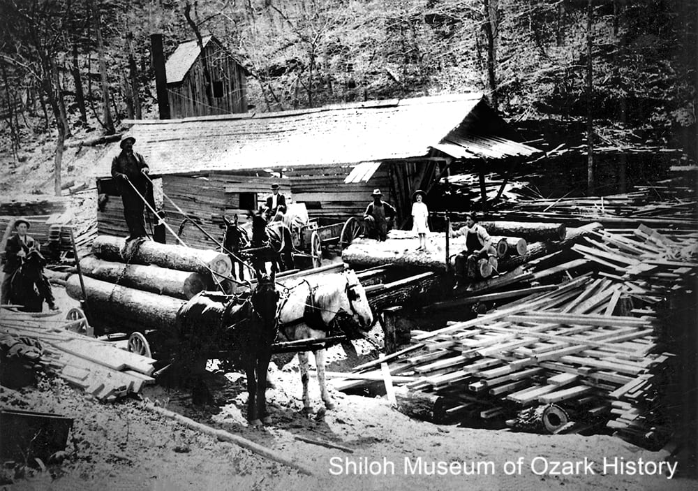 Sawmill near the Little Buffalo River, Possum Hollow (Newton County, Arkansas), 1900s–1910s.