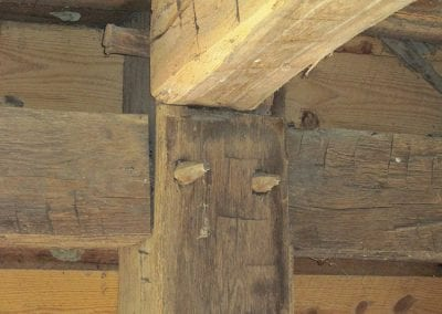 Timber framing detail, first floor.