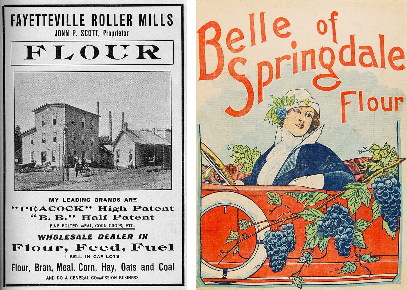 Left: Fayetteville Roller Mills advertisement,1904. (S-87-323-1) Right: Flour sack label, Springdale Milling Co., circa 1920.