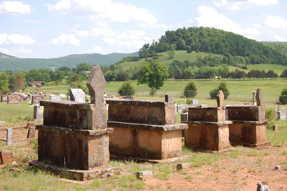 Canaan Cemetery with Ward Mountain in the distance.