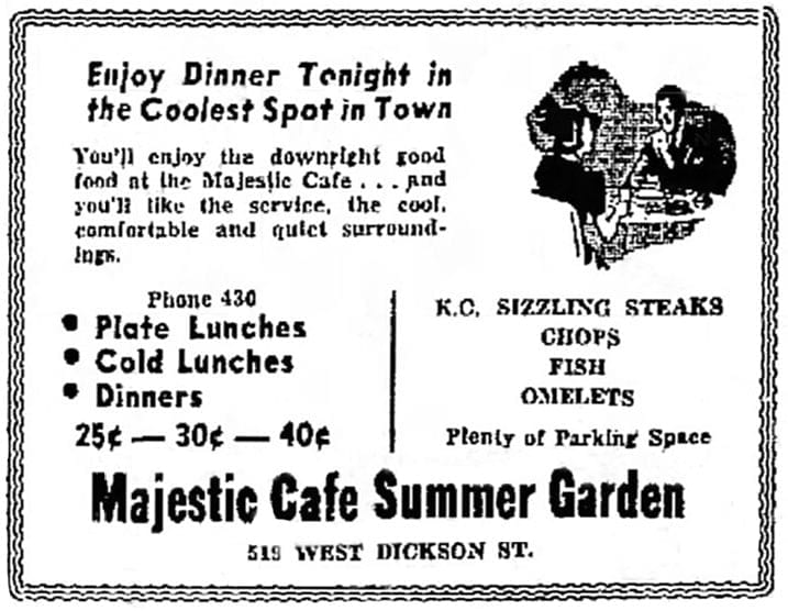 Majestic Café Summer Garden ad, Northwest Arkansas Times, July 25, 1938.