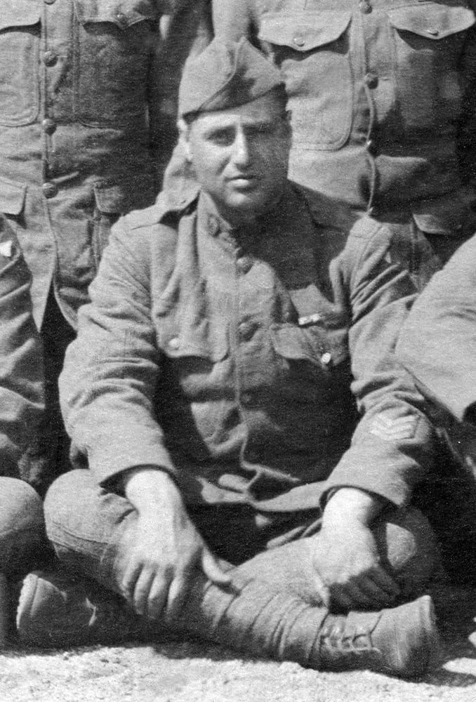 James Vafakos with the 1st Aero Observation Squadron, just back from France, August 1919.  Courtesy William N. Vafakos