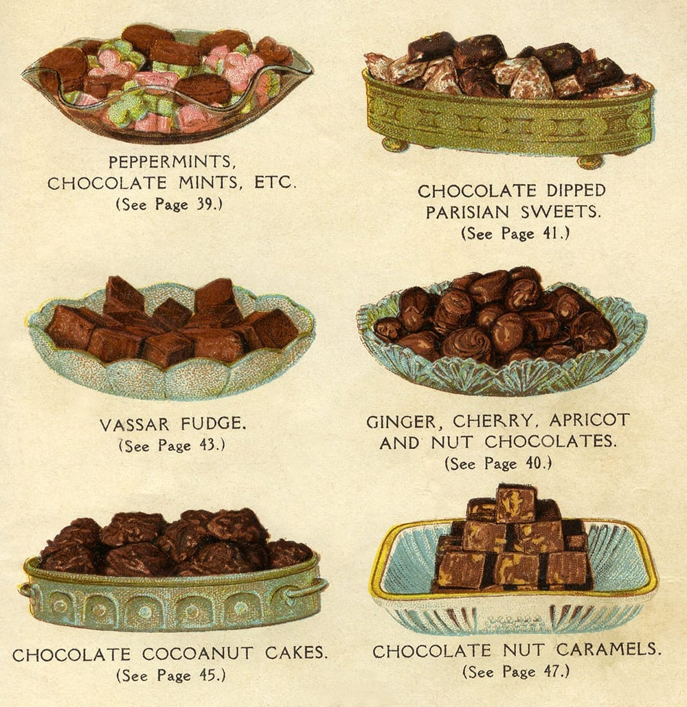 Illustration from a chocolate and candy recipe booklet distributed by Walter Baker & Co., 1922.