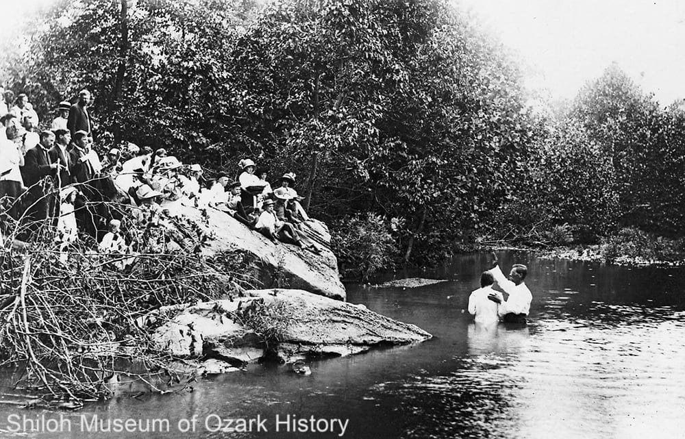 Baptism at Slicker Pool near Winslow, Arkansas, circa 1913.