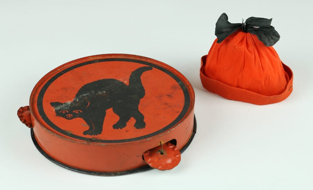 1930s Halloween tambourine and hat