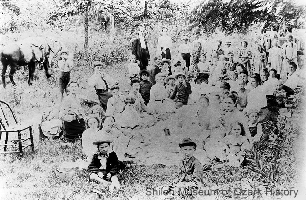 Methodist Sunday School group enjoying dinner on the ground, Wilson Spring, Boone County, Arkansas,early 1900s.