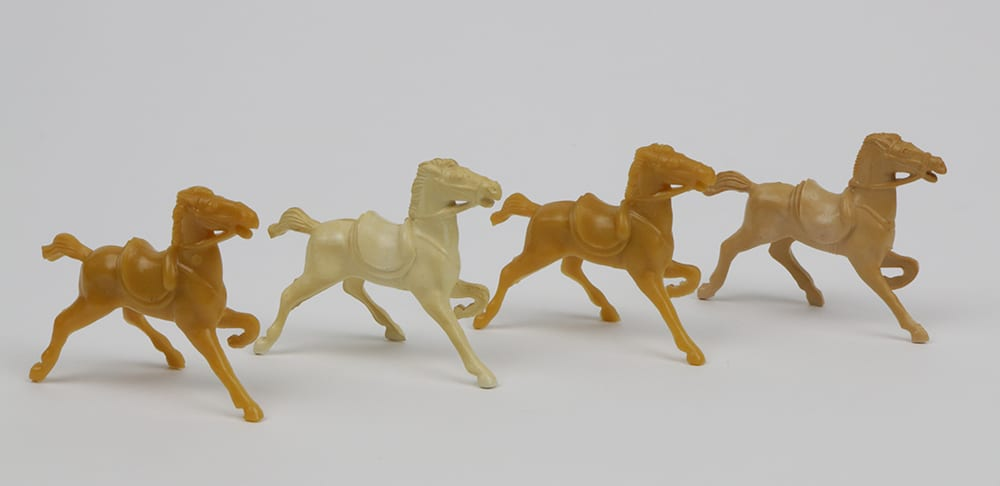 plastic toy horses, circa 1950s