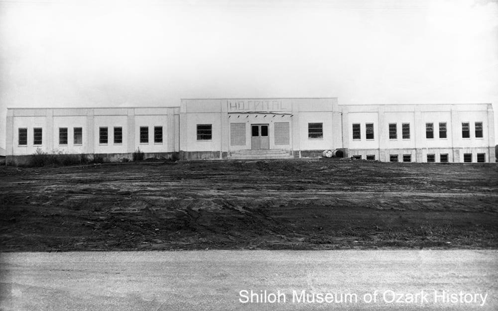 Huntsville Memorial Hospital under construction, Huntsville, Arkansas, Summer 1950.