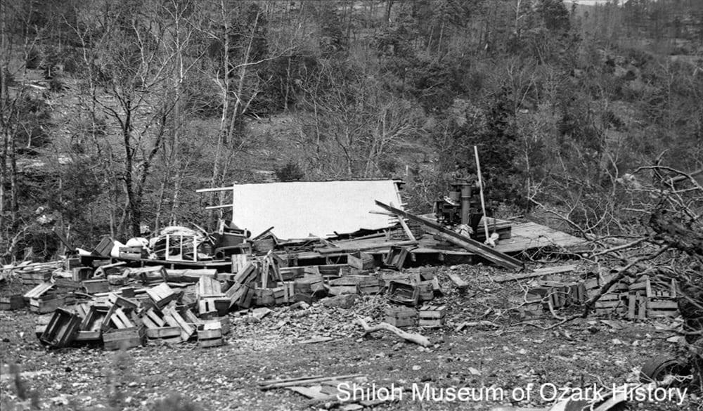 Tornado damage at Marble, Arkansas, April 1945.