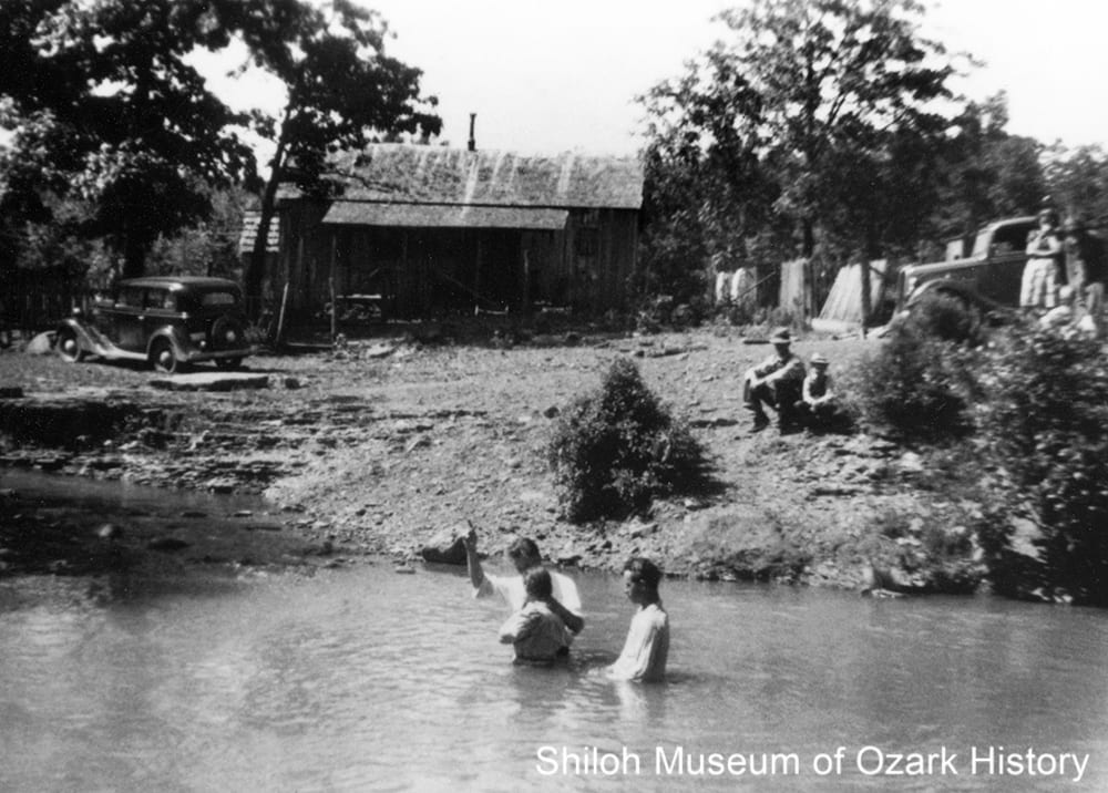 River baptism, Pettigrew, Arkansas, 1930s.