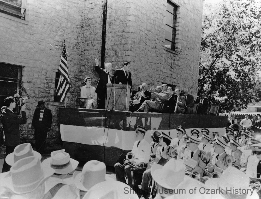 Jasper mayor A. B. Arbaugh introducing Governor Orval Faubus at the Newton County (Arkansas) dedication of Highway 7, Jasper County courthouse, September 7, 1956.