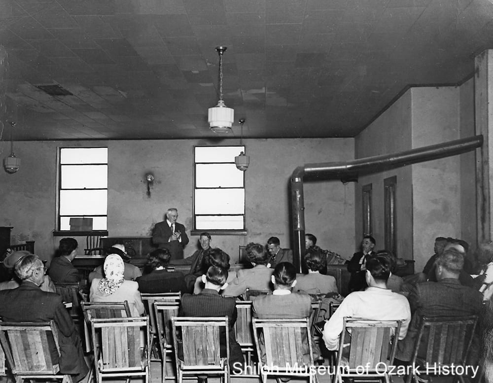 Rural Electrification Administration meeting, Newton County courthouse, Jasper, Arkansas, late 1930s.