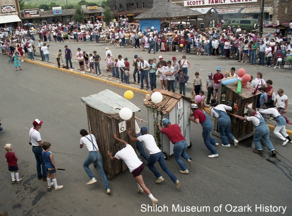 Outhouse race at Hawgfest, Huntsville, Arkansas, August 7, 1993.