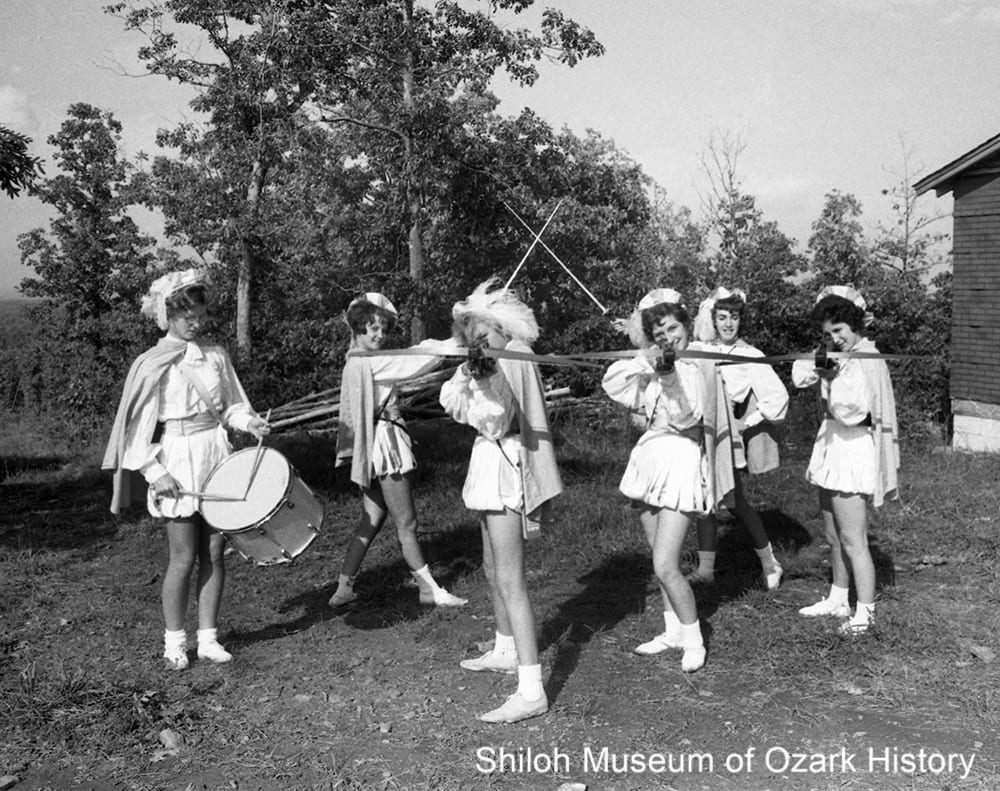 The Crossbowettes strike up a pose, Governor's Hill, Huntsville, Arkansas, October 1962.