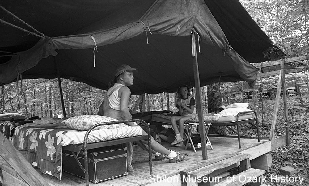 Girl Scouts at Camp Noark near Huntsville, Arkansas, June 1979.