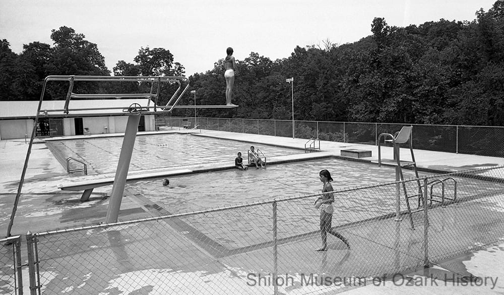 Swimming pool at Withrow Springs State Park near Huntsville, Arkansas, June 1968.