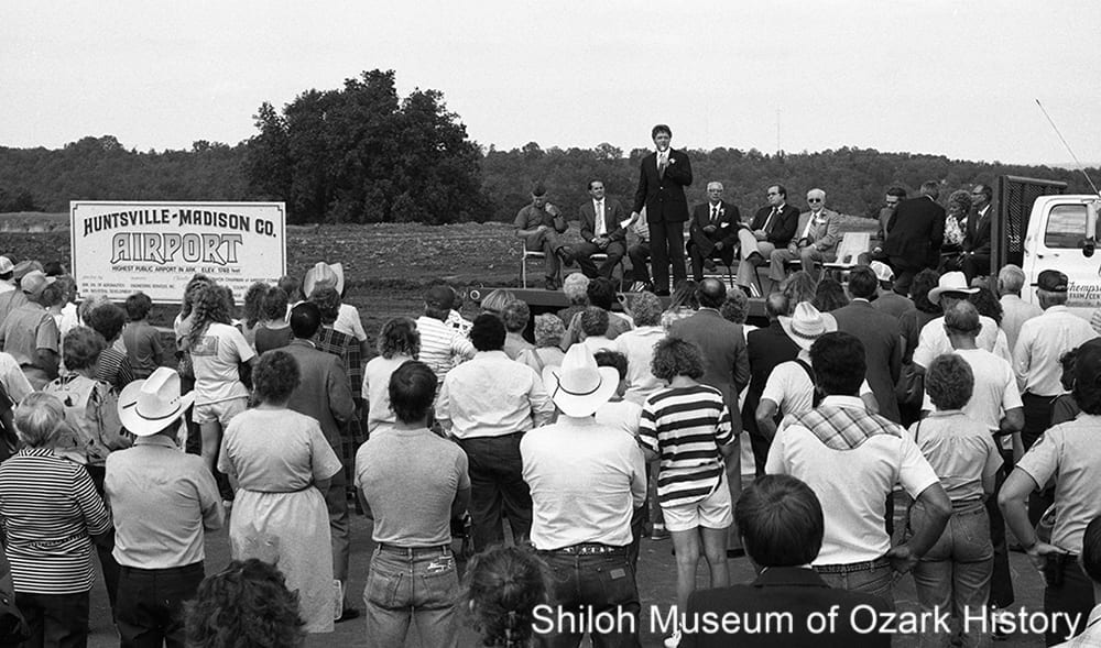 Governor Bill Clinton speaking at the dedication of the Huntsville-Madison County Airport, September 27, 1986.