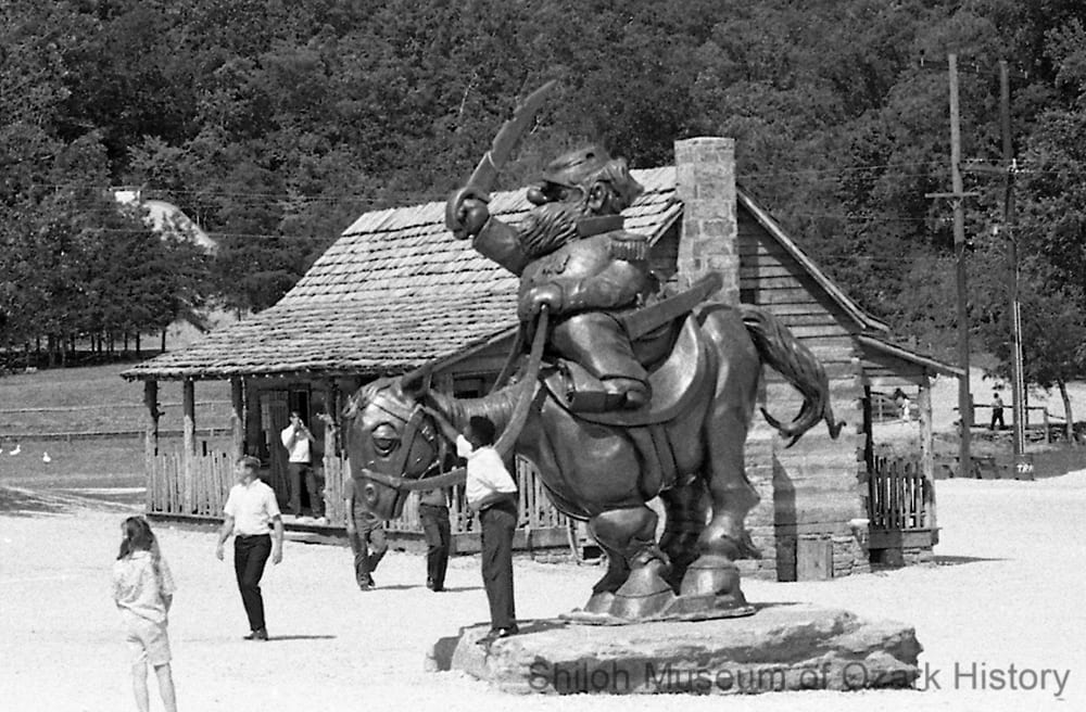 Statue of Jubilation T. Cornpone, Dogpatch U.S.A., Marble Falls, Newton County, Arkansas, June 1968.