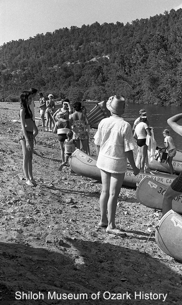Canoeists at the take-out spot, Buffalo Point, Buffalo River, Newton County, Arkansas, June 25, 1972.