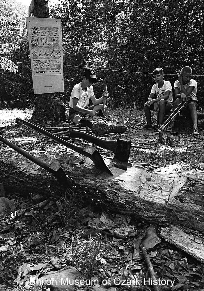 Boy Scouts at Camp Orr, near Jasper, Newton County, Arkansas,July 1967.