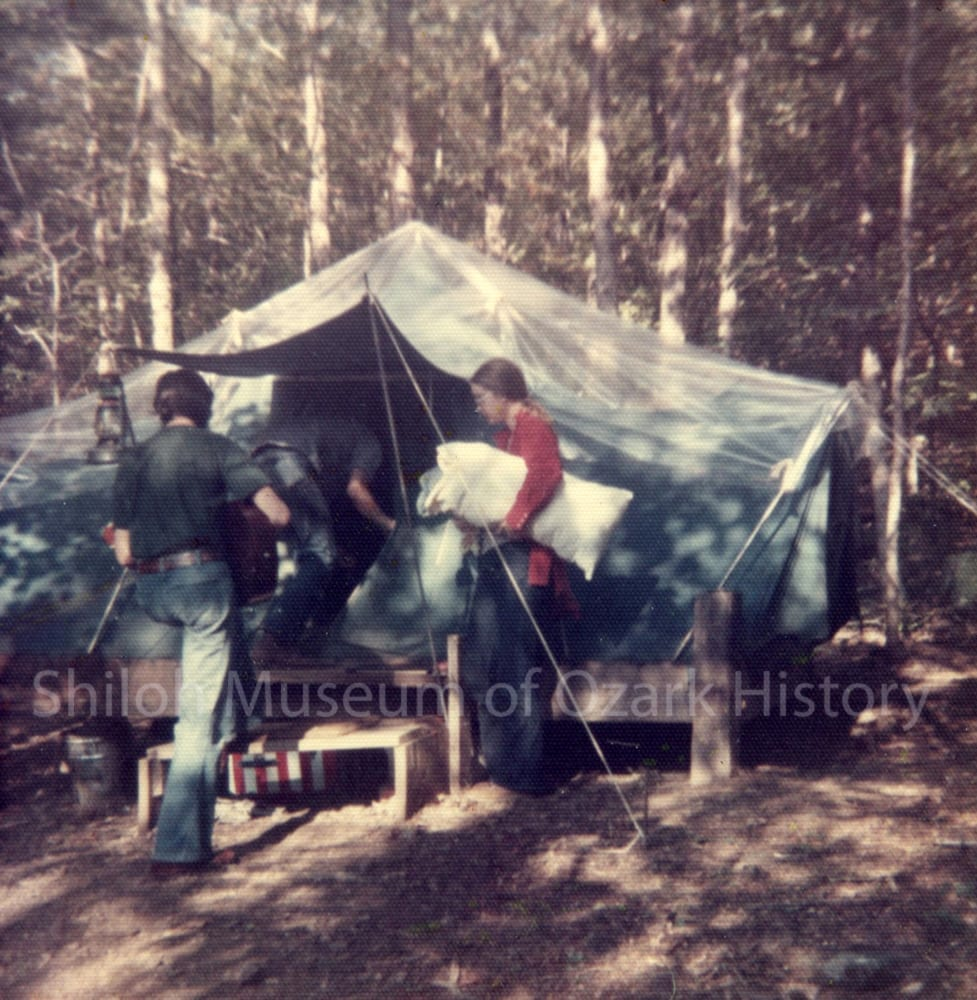Gary and Cindy Davidson's tent, Madison County, Arkansas, circa 1974