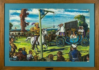 Painting of lancers at the Crossbow Tournament in Huntsville, Arkansas, by George Stevens, 1960s-1970s.