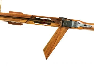 Loading mechanism on handmade crossbow made by George Stevens, 1960s.