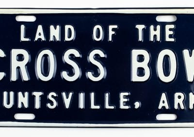 """Land of the Crossbow"" car plate, 1960s."