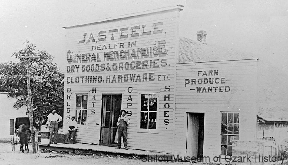 J. A.Steele General Store, Elm Springs, Arkansas, circa 1914