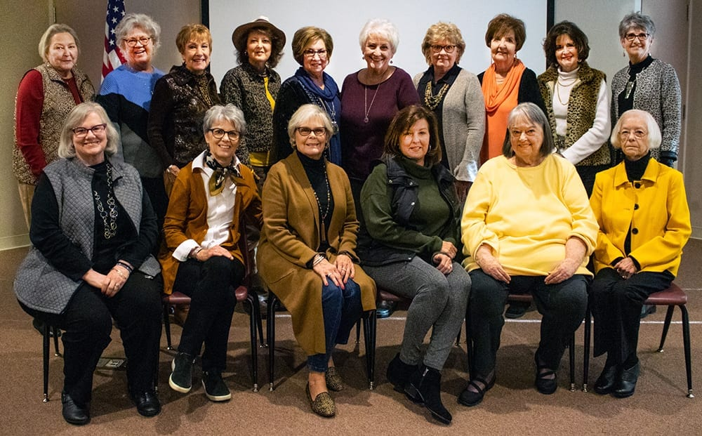 rossbowette reunion, Shiloh Museum of Ozark History, November 15, 2019. Back, from left: Sue Ellen McDonald Montgomery, Judy Karnes Cotton, Diane McKinney Johnson, Shirley Duncan Franklin, Juanita Thompson Shepherd, Linda Owens Womack, Kathy Counts Howard, Doris Ann Coger Kisor, Joy Patrick Parrott, and Chris Smith Royston. Front, from left: Nancy Smith Marsh, Trudy Gaskill Karnes, Karen Smith Croxdale, Claudette Elzey Shrum, Pat Woollen Wusnack, and Barbara Fowler Robinson.