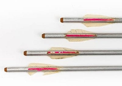 Crossbow bolts used by Arlis Coger at the Crossbow Tournament in Huntsville, Arkansas,, 1960s-1970s.