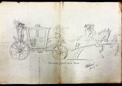 "George Steven's sketch for a ""Princess' Coach,"" 1956."