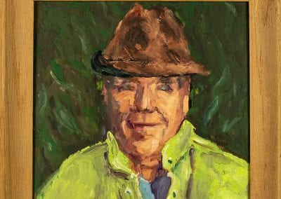Portrait of Arlis Coger, painted by George Stevens, 1960s-1970s. Coger was instrumental in bringing the Crossbow Tournament to Huntsville, Arkansas.