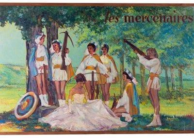 Les Mercenaires (The Mercenaries), painted by George Stevens, about 1960. Featuring Crossbowette and 1960 tournament queen Doris Ann Coger in white dress.