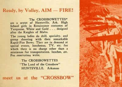 Table tent advertisement for the Crossbow Tournament in Huntsville, Arkansas,, 1961.