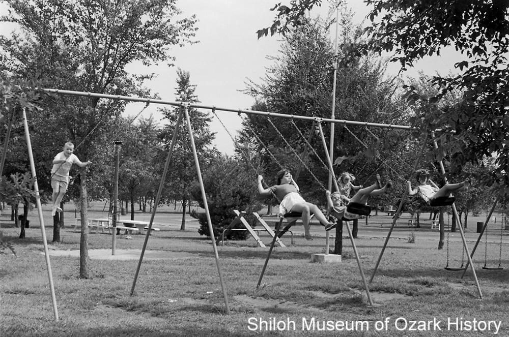 Swings at Murphy Park, Springdale, Arkansas, August 1961