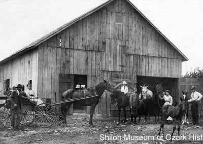 The Robert B. Reed family with their horses and wagons, Benton County, Arkansas, circa 1910.