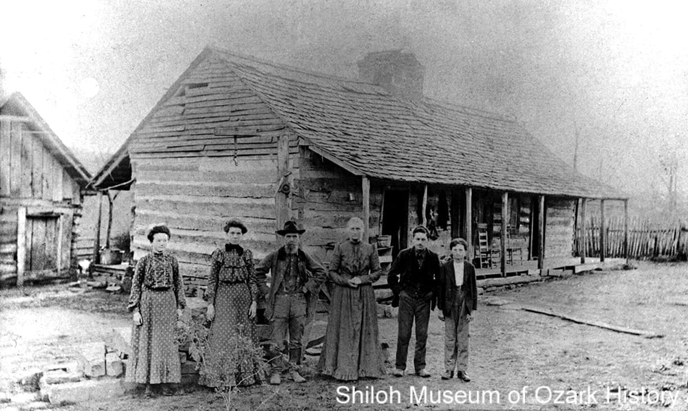 Henry Webber's saddlebag log home, Webber Mountain near West Fork (Washington County), about 1902.