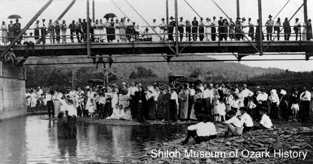 Baptism at the White River bridge, West Fork (Washington County, Arkansas), about 1922.