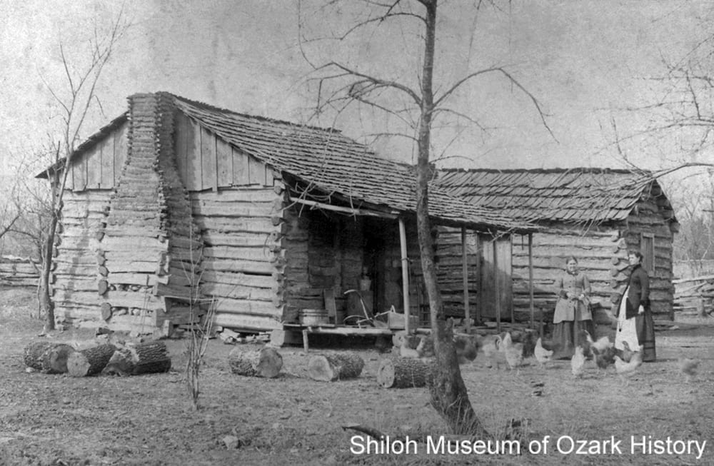 George Daniels' single pen log cabin (with a second single pen built close by), near Sulphur Springs (Benton County, Arkansas), late 1890s