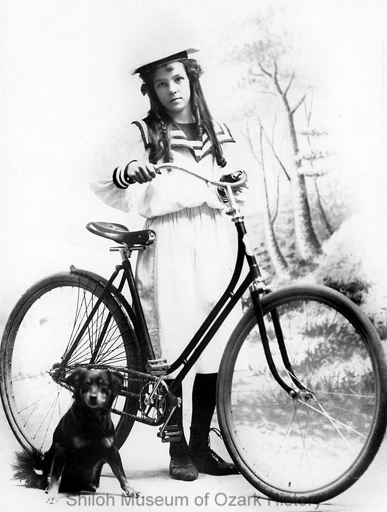 Mary Parker and her bicycle, Rogers, Arkansas, 1890s