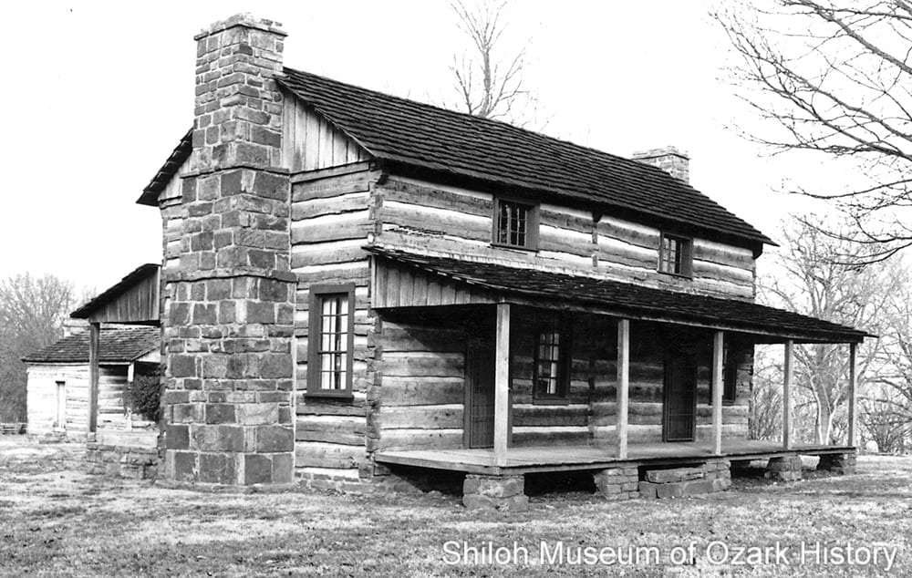 John Latta's two-story double pen log home, Prairie Grove Battlefield State Park (Washington County,Arkansas), about 1990.