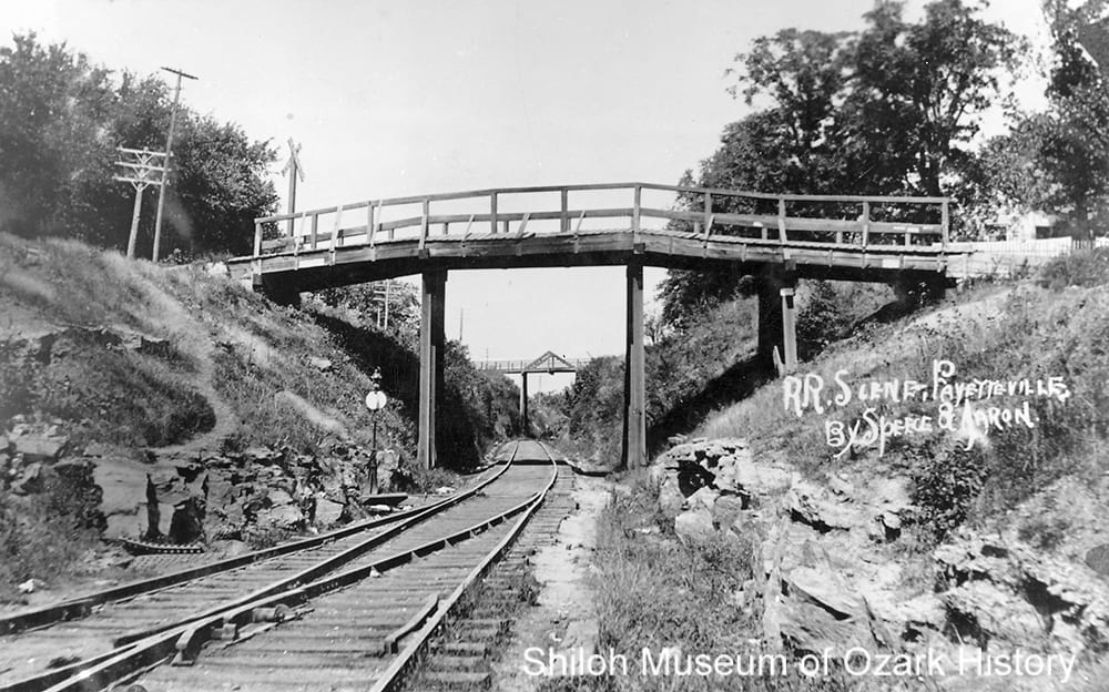 Lafayette Street bridge (with Maple Street bridge in background), Fayetteville (Washington County), circa 1909.