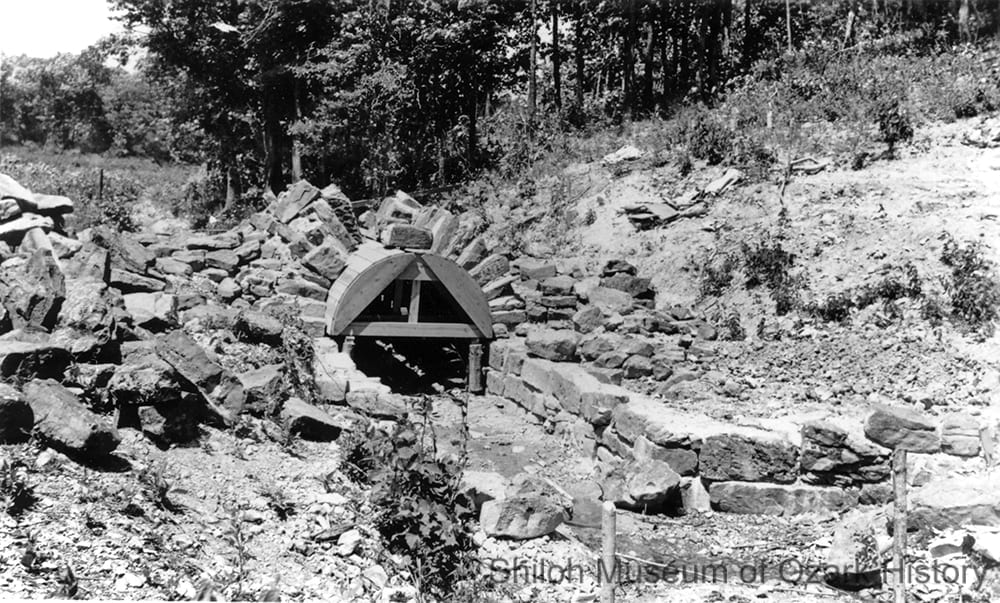 Bridge construction at Lake Wedington (Washington County, Arkansas), circa 1937.